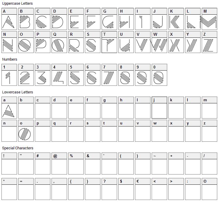 Razor Font Character Map
