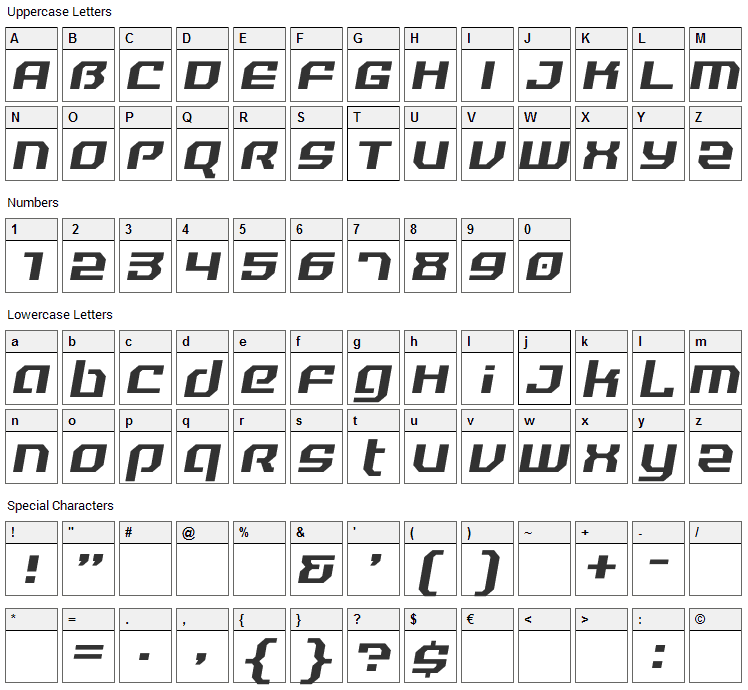 Reality Hyper Font Character Map