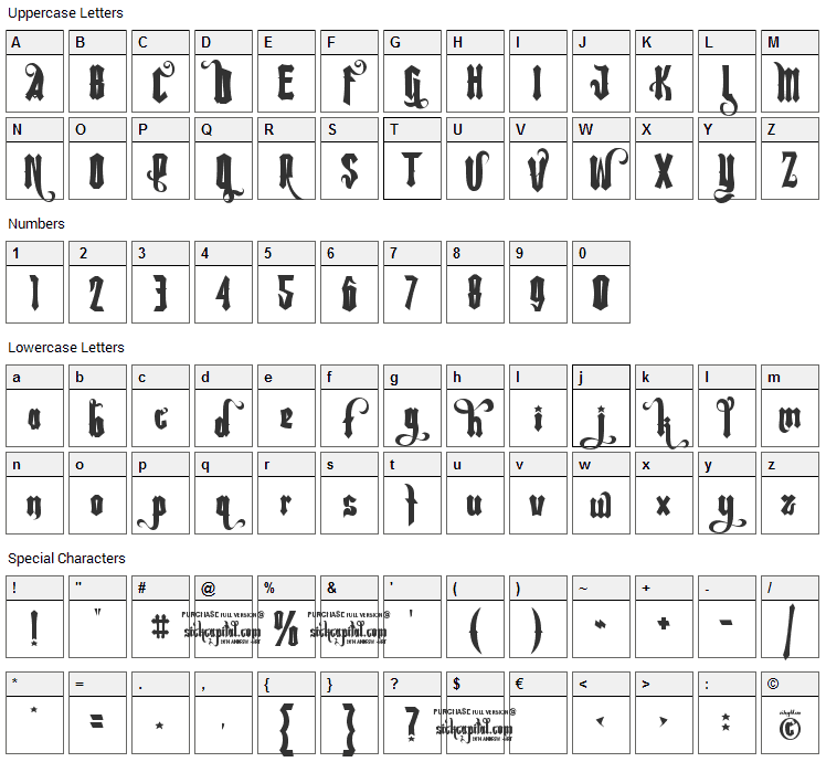 Rebel Pixy Font Character Map