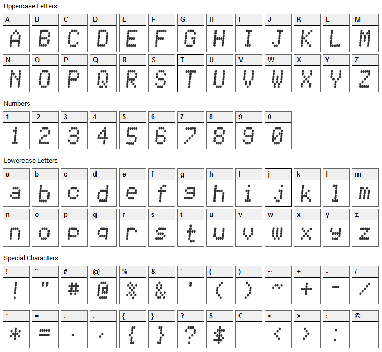 Receiptional Receipt Font Character Map