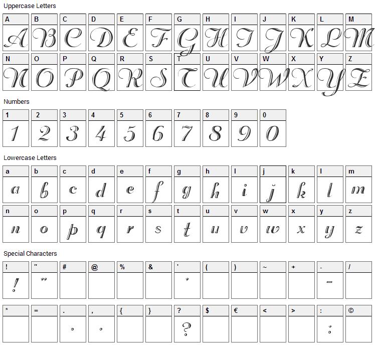 Rechtman Font Character Map
