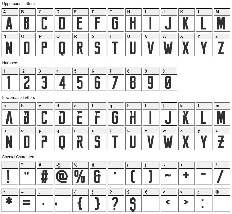 Reckoner Font Character Map