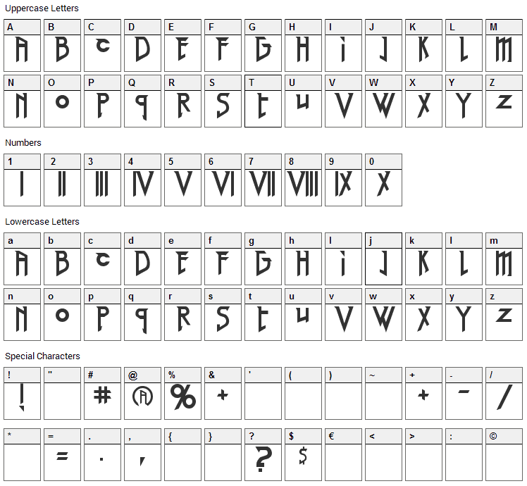 Red Right Hand Font Character Map