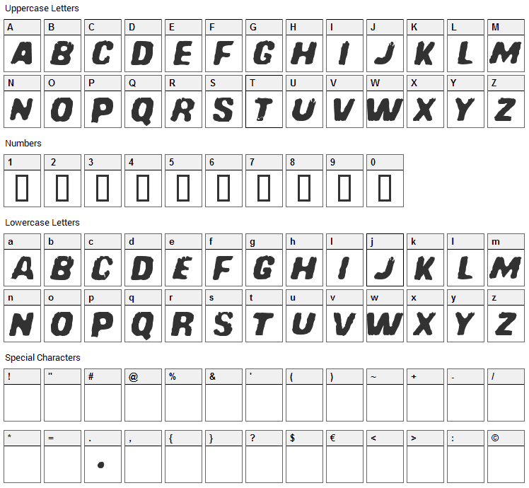 Redcomet Font Character Map