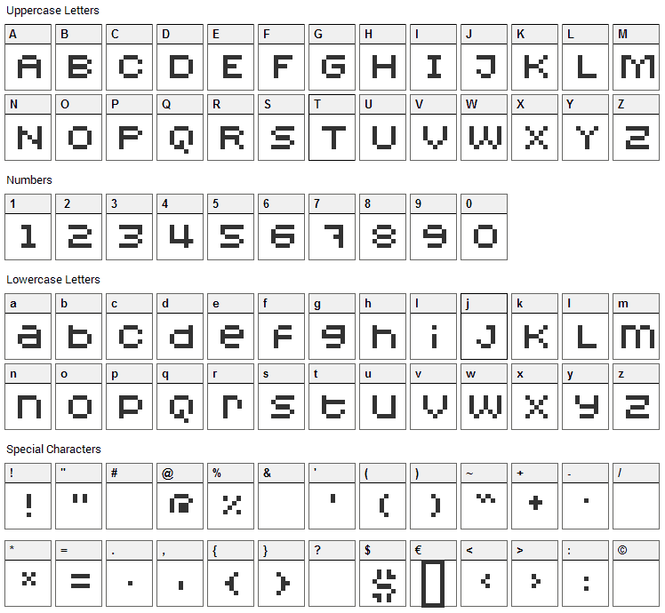 Redensek Font Character Map