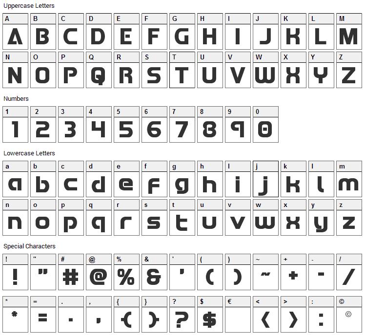 Redline Font Character Map