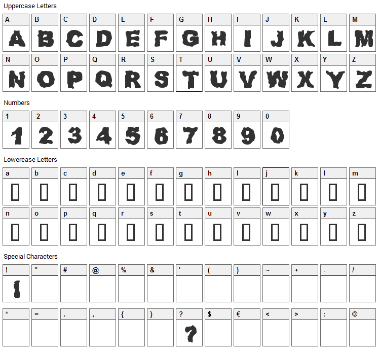 Redneck Zombies Font Character Map