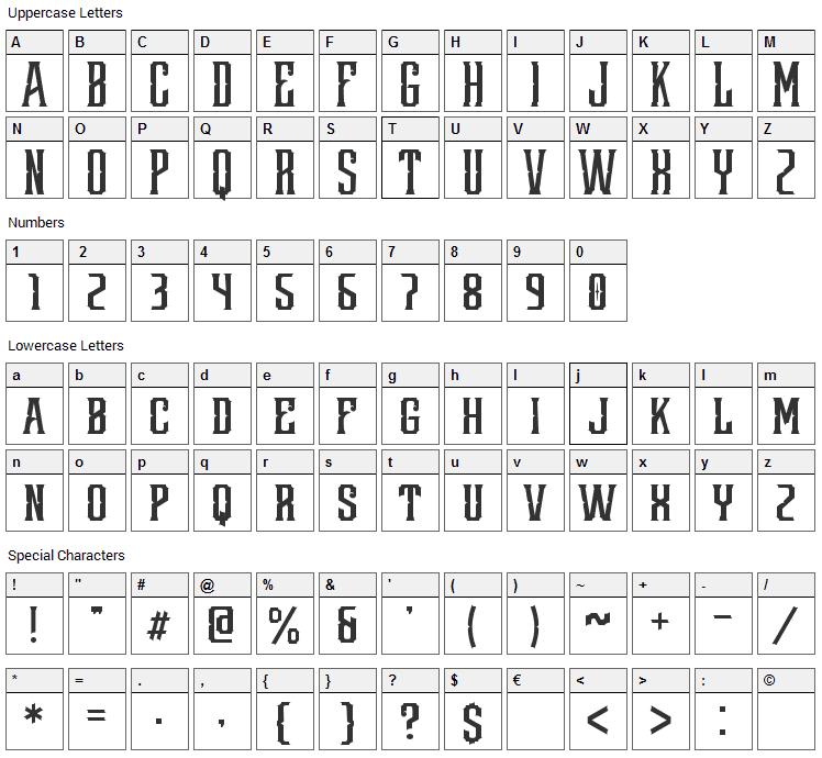 Redsniper Font Character Map