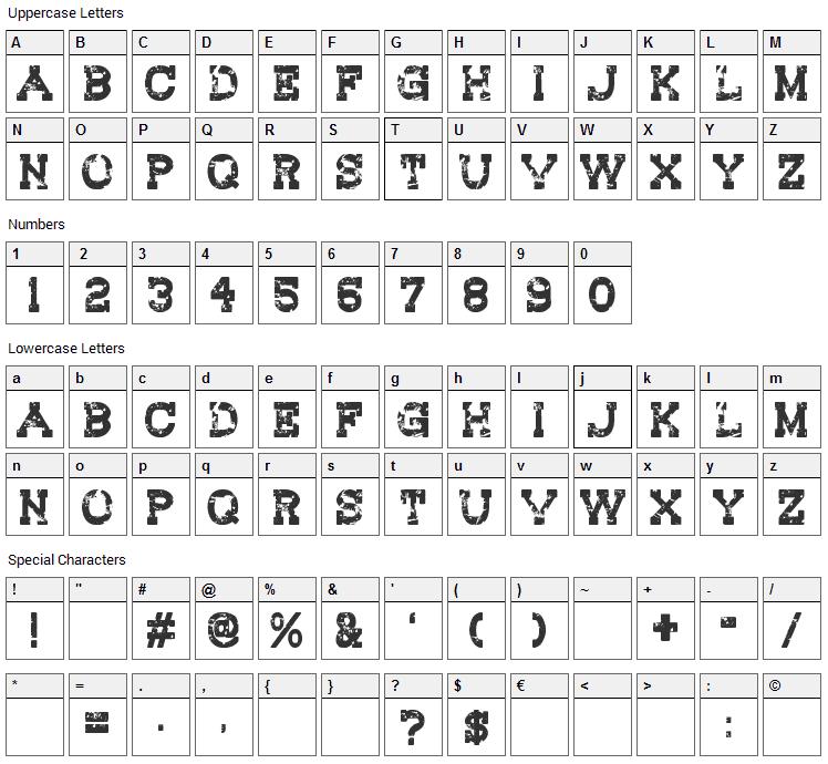 Redwood Creek Font Character Map
