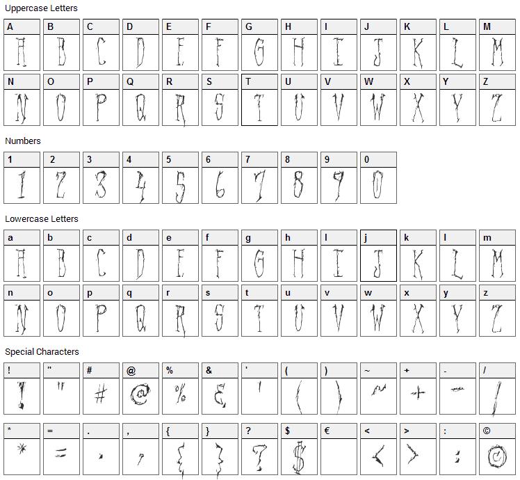Regal Demise Font Character Map