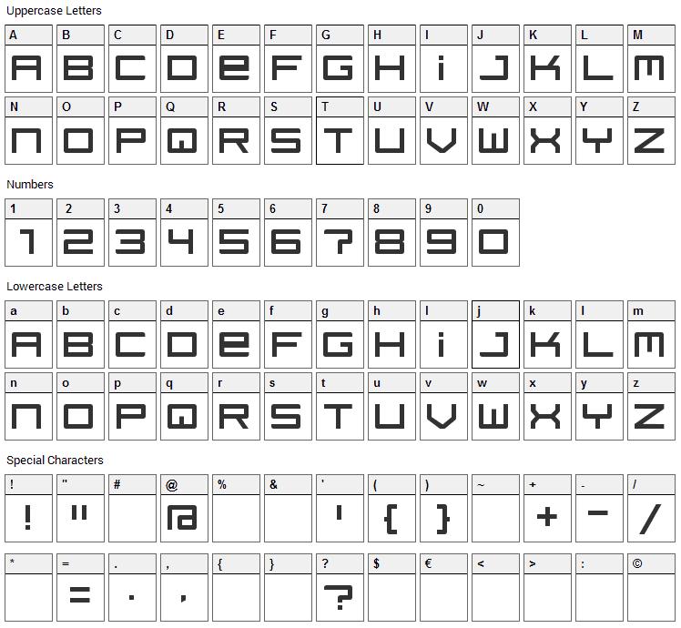 Regata Font Character Map