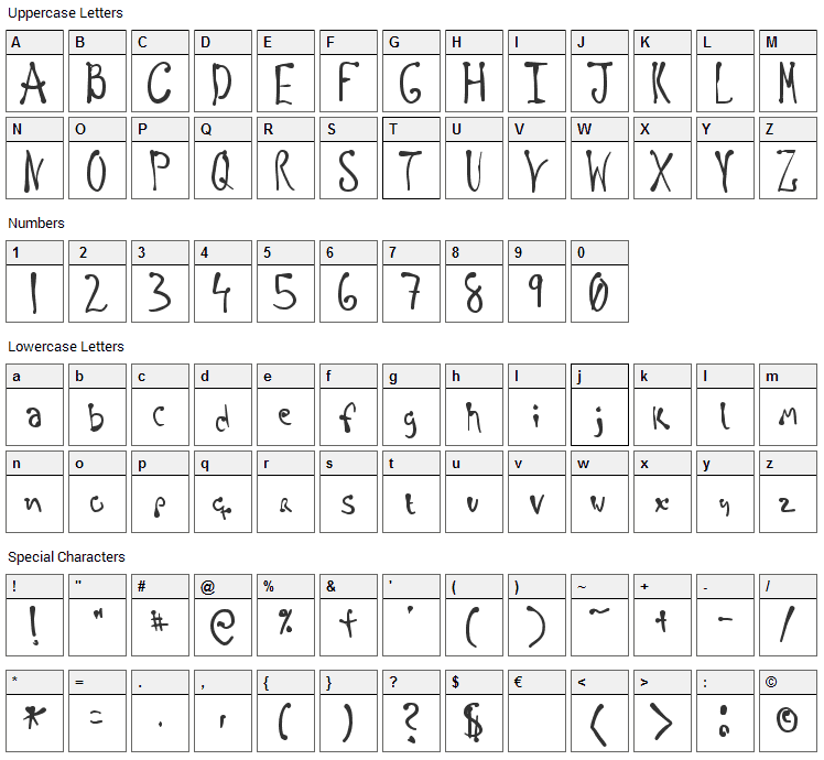 Regellos Font Character Map