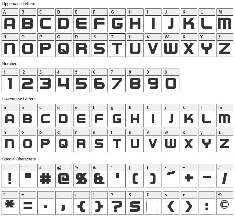 Regen Font Character Map