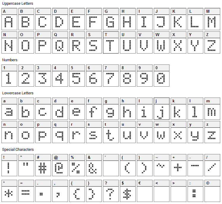 Register Font Character Map