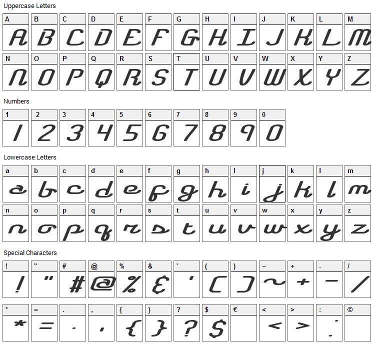 Registry Font Character Map