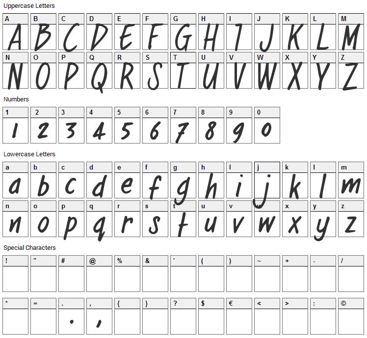 Regular Joe Font Character Map