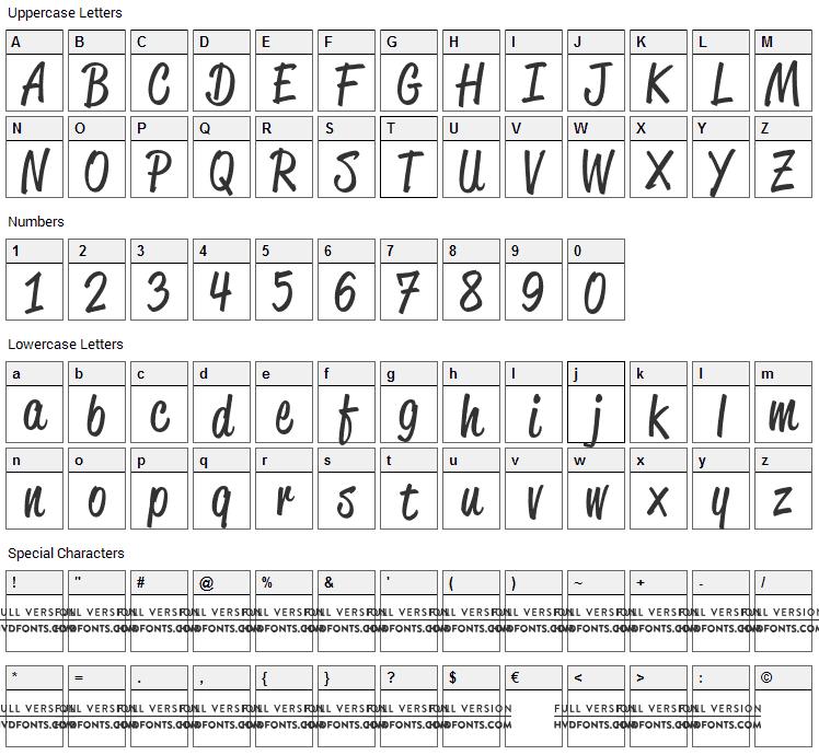 Reklame Script Font Character Map
