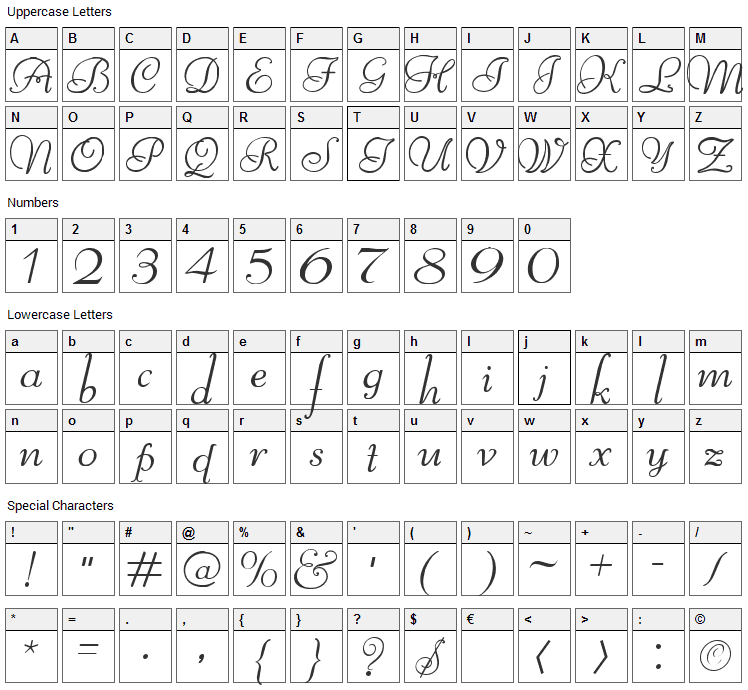 Reliant Font Character Map