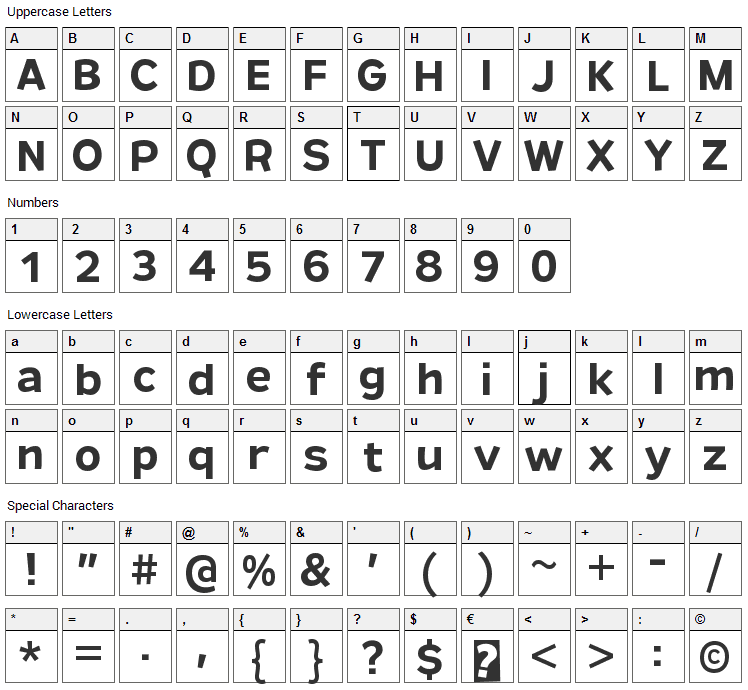 Remissis Font Character Map