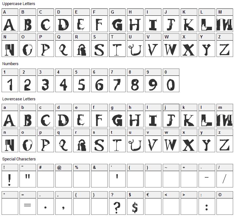 Remix Font Character Map