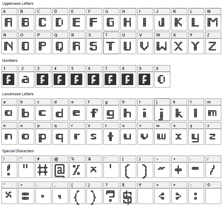 Remodula Font Character Map