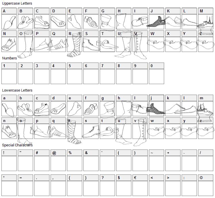 Renaissance Shoes Font Character Map