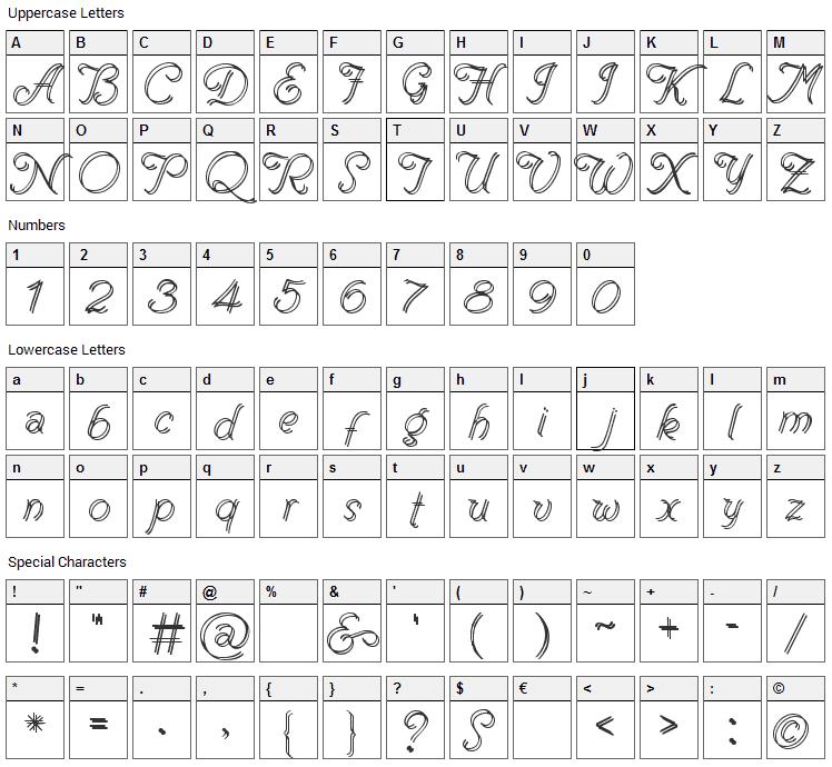 Renania Font Character Map