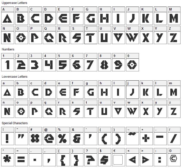 Renegade Font Character Map