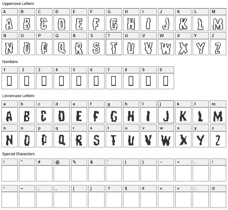 Repeat Until False Font Character Map
