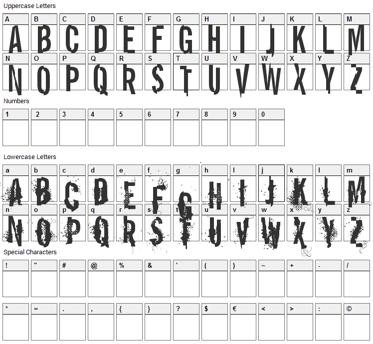 Report Error Font Character Map