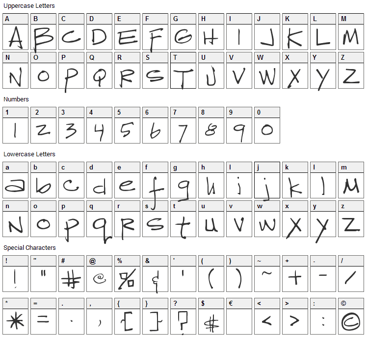 Reprobate Font Character Map