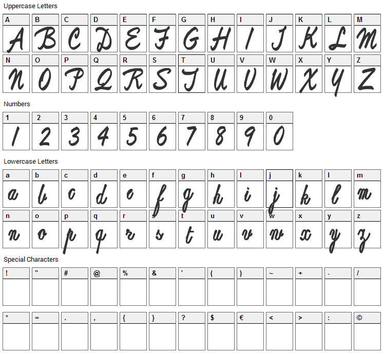 ReproxScript Font Character Map
