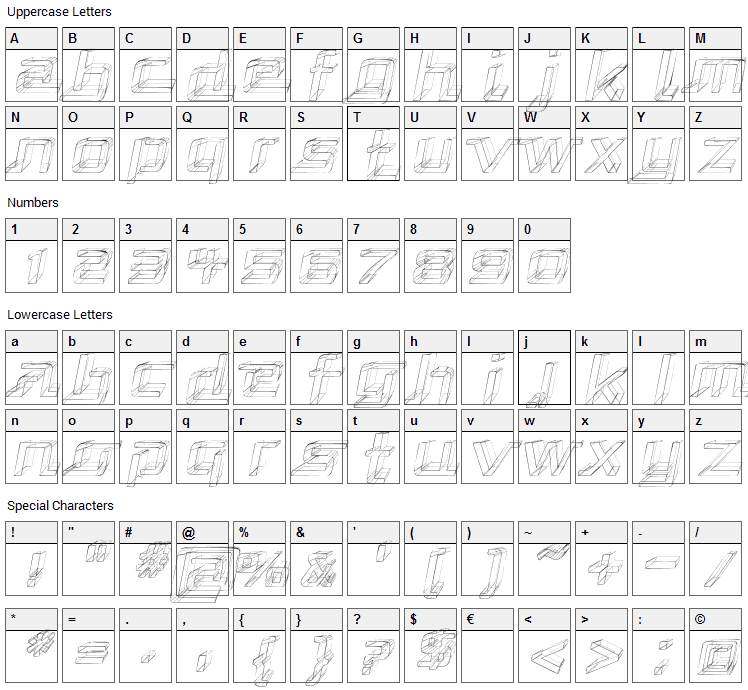 Republika Font Character Map