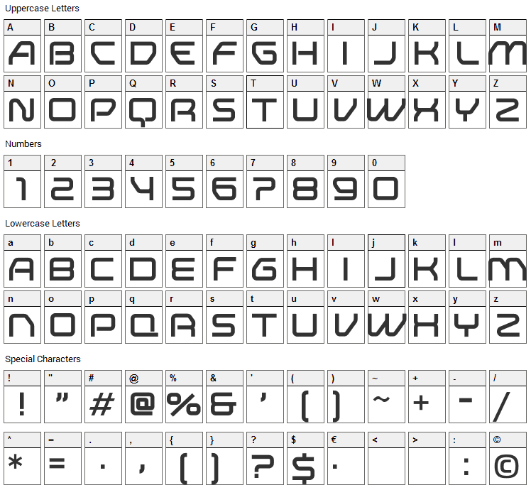 Research Remix Font Character Map