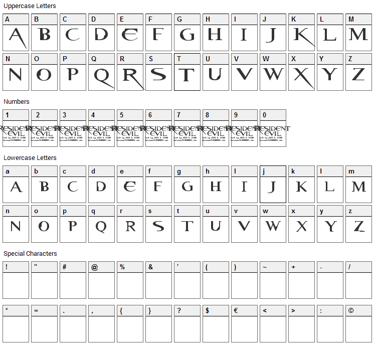 Resident Evil Font Character Map