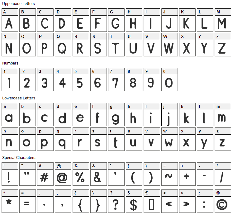 ReSiple Font Character Map