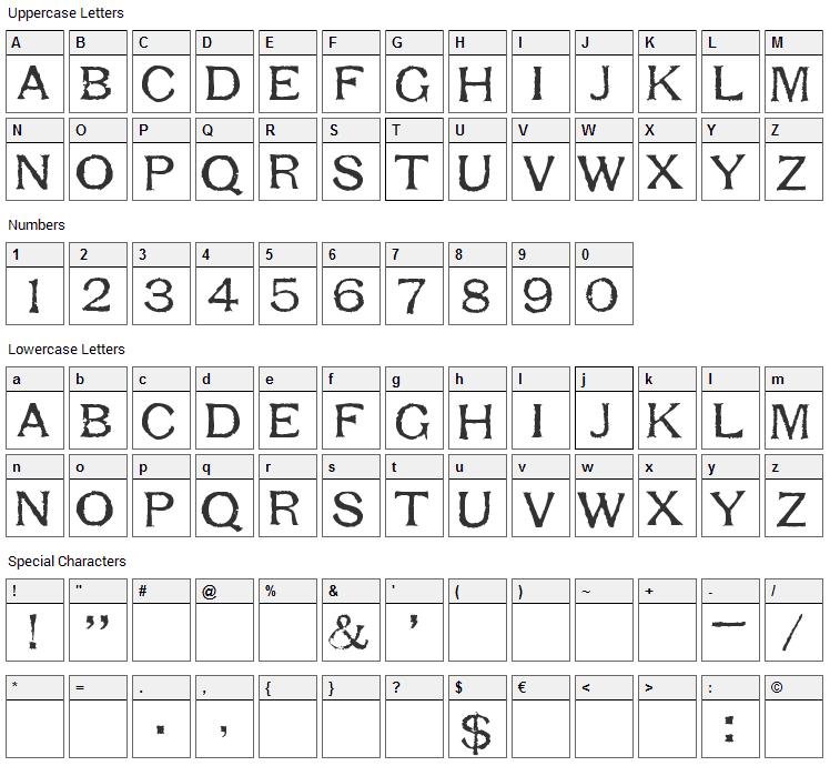 Respess Capitals Font Character Map