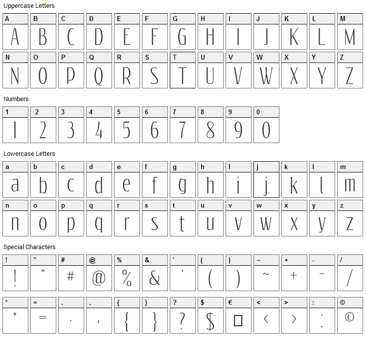 Reswysokr Font Character Map