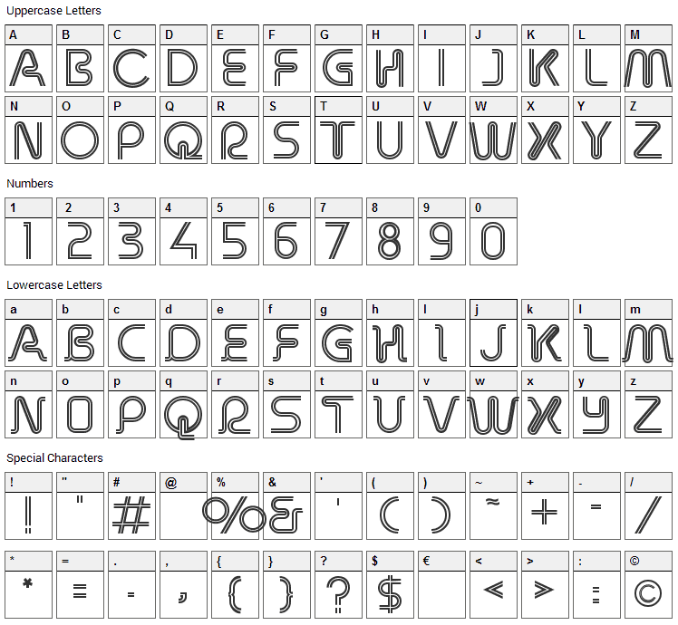 Retro Stereo Thin Font Character Map
