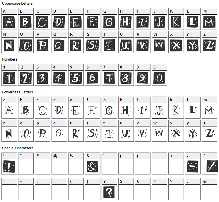 RetroCaps Font Character Map