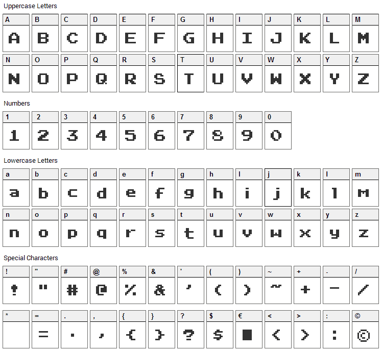 RetroVille Font Character Map