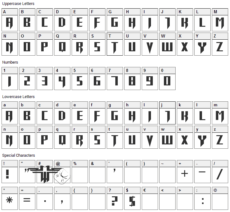 Return To Castle Font Character Map