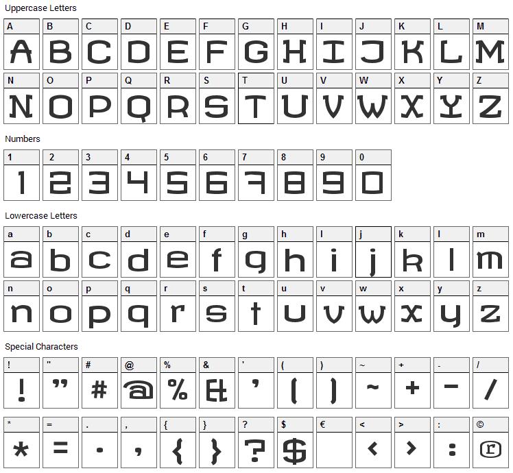 Revalia Font Character Map