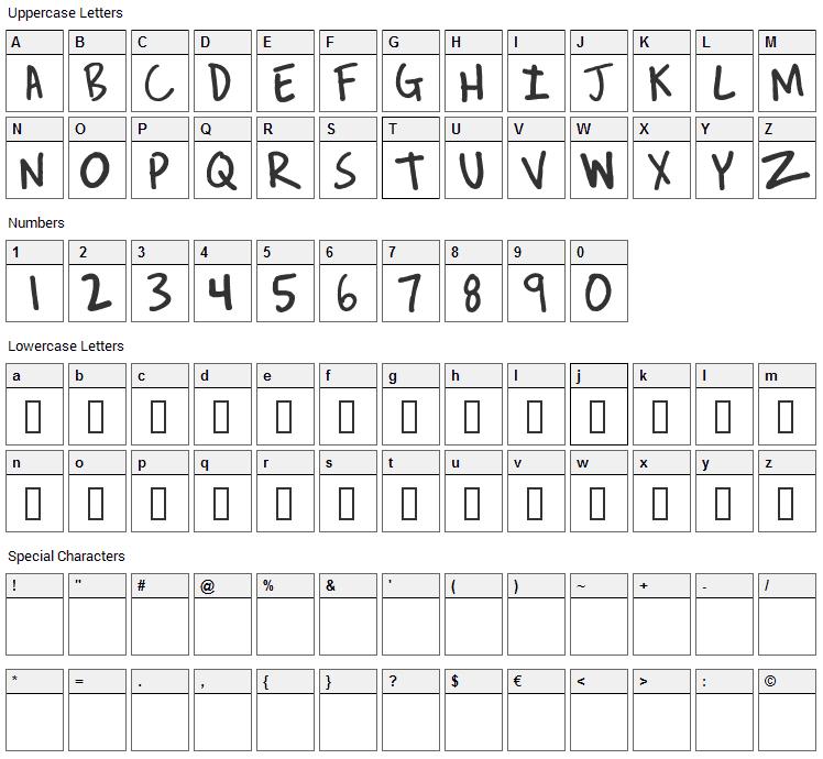 Reverend Josh Font Character Map