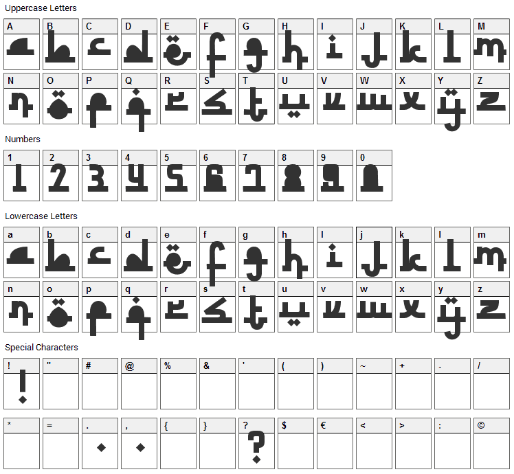 Revolusi Timur Tengah Font Character Map