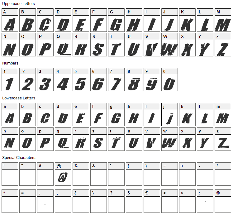 Revolution Font Character Map