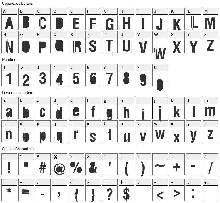 Rez Font Character Map