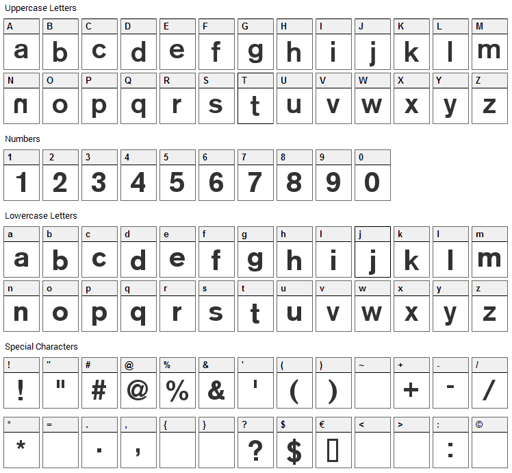 Reznor Broken Font Character Map