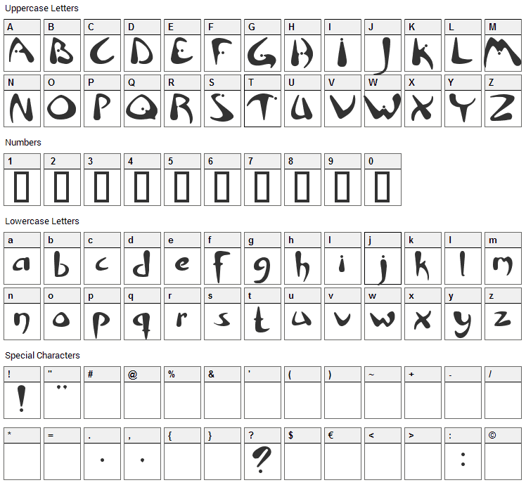 Rhino Font Character Map