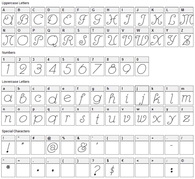 Rhumba Script Font Character Map